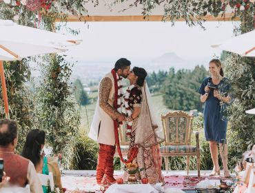 Eagle Ridge Country Estate, Wedding Venue, kissing bride and groom at ceremony